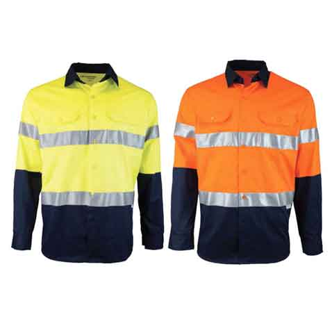 Two-Tone-Long-Sleeve-Drill-Shirt-with-Reflective-Tape-1