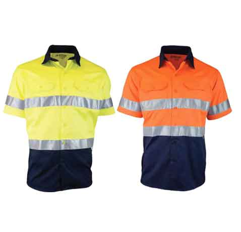 Two-Tone-Short-Sleeve-Drill-Shirt-with-Reflective-Tape-main